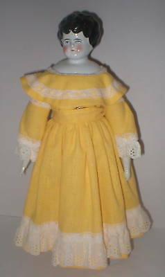 """19"""" antique Germany  china head in yellow dress & shoes"""