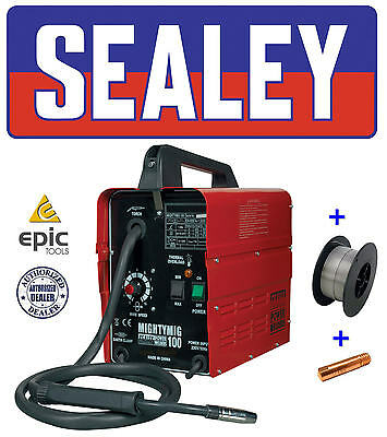 SEALEY 100Amp No Gas / Gasless Mighty Mig Welder + Flux Wire, Tip MIGHTYMIG100