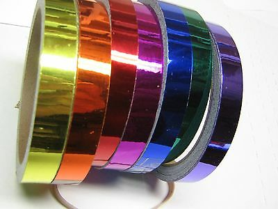 Any 6 Colors,  Chrome Tape, 1/4 inch x 25 feet,  Free S&H for USA