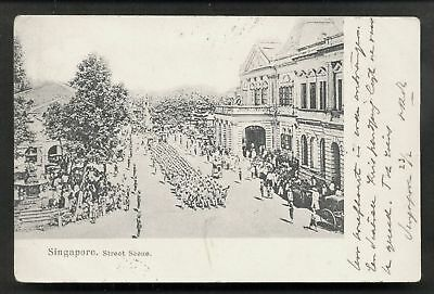 Singapore Soldiers marching Street Buildings ca 1899