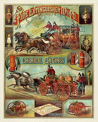 1880s Fire Engine Vintage Style Firefighter Advertising Poster - 24x30