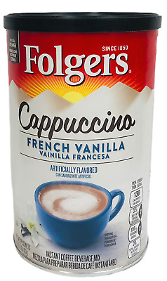 Folgers French Vanilla Cappuccino Instant Coffee Beverage Mix 16 oz