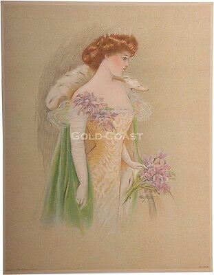 Woman w/Tiara/Crown & Fur Cape 1909 Victorian Color Litho Print/Chromolithograph
