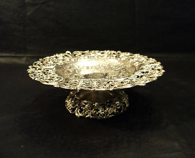 GORGEOUS AMERICAN STERLING PIERCED COMPOTE, PA c. 1880
