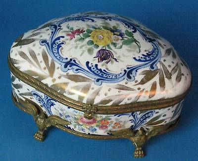 Antique French Sevres Hand-Painted Jewelry Box  c. 1870