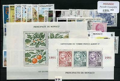 Monaco Annee 1991 Complete Timbres Neufs Xx - Luxe