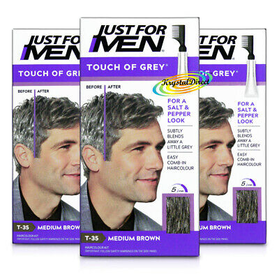 3x Just For Men Touch Of Grey Medium Brown T35