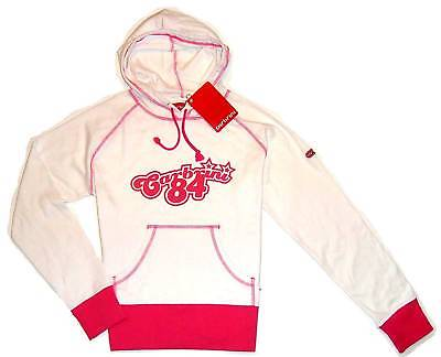 NEW CARBRINI HOODY GIRLS 11-12 Years Lush pink & white cotton retro sportswear
