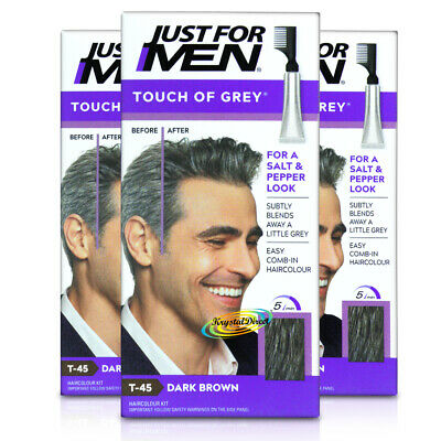 3x Just For Men Touch of Grey Dark Brown Hair Dye Colour T45