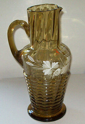 MARY GREGORY Antique HAND BLOWN German Beer PITCHER