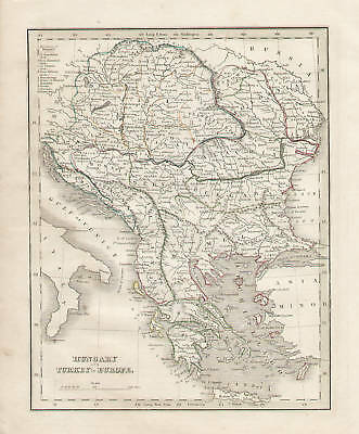 Hungary and Turkey in Europe Map Vintage, 1835 by Bradford, Original Antique Map
