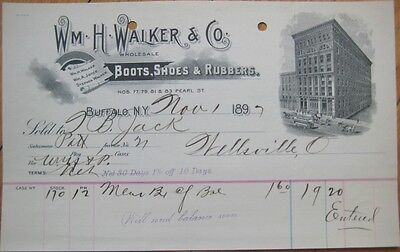 1897 Letterhead: Walker Boots/Shoes/Rubbers-Buffalo, NY