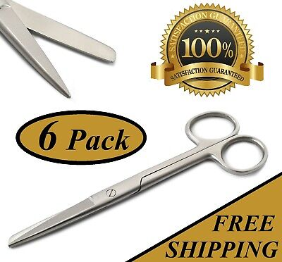 "6 Operating Scissors 5.5"" Straight Tip Sharp Blunt Surgical Instruments"