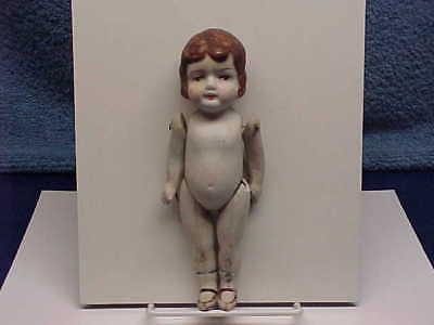 """6""""1/2 HAND-PAINTED WIRED PORCELAIN DOLL JAPAN 1920's"""