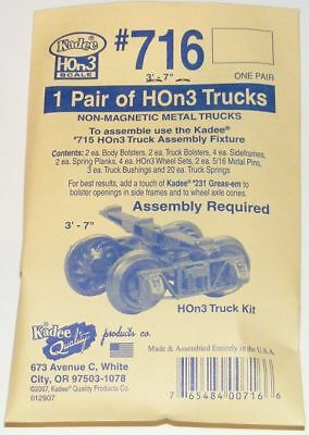 "Kadee HOn3 scale ~ # 716 Arch Bar Type Metal Trucks Kit - (3'7"" wheel base)"