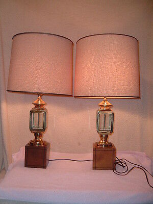 Pair Frederick Cooper Carriage Lamps Vintage Bevel Glass