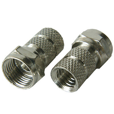 10x - F-Connector 6.7mm Coaxial RG6 Plug - Satellite/Aerial Coax Male Sky Virgin