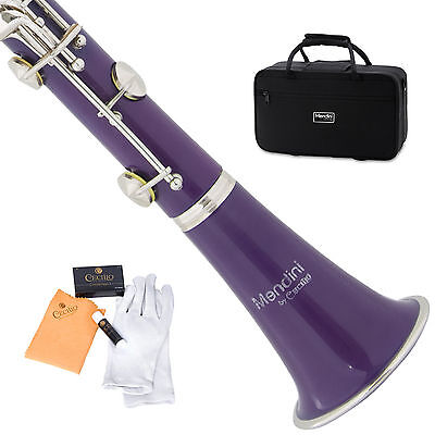 MENDINI PURPLE ABS Bb CLARINET W/ CASE,CARE KIT,11 REEDS FOR STUDENT, BEGINNER