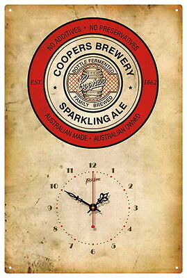 Coopers Sparkling  Ale Vintage  Tin Sign Clock