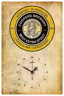 Coopers Brewery Stout Vintage  Tin Sign Clock