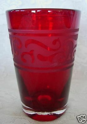 Vintage Collectible Ruby Red Blown Glass Etched Vase - Rough Pontil