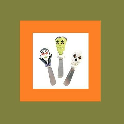 67111 Set/3 Dracula Frankenstein Skull Halloween Party Spreaders Cheese Butter