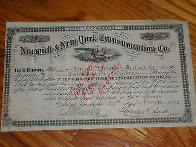 Norwich & New York Steamship,Stock Cert issued 1892