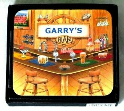Garry's Bar Name Set Of 6 Cork Backed Coasters