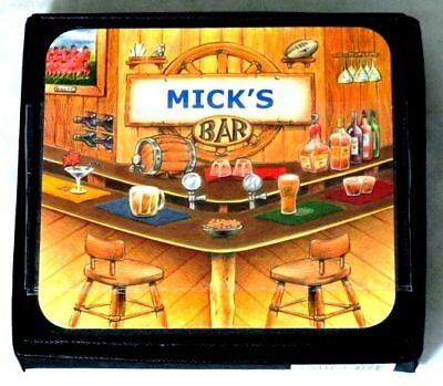 Mick's Bar Name Set Of 6 Cork Backed Coasters