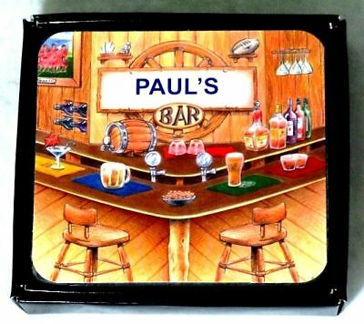 Paul's Bar Name Set Of 6 Cork Backed Coasters
