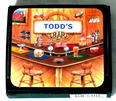 Todd's Bar Name Set Of 6 Cork Backed Coasters