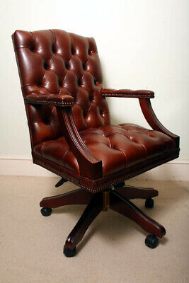 Bespoke English Hand Made Gainsborough Leather Desk Chair Chestnut