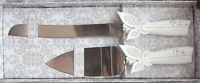 Cake Serving Set-Butterfly & Crystal-Pearl White-Rkswed