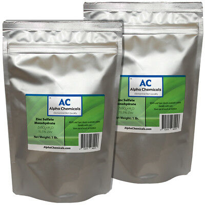 Zinc Sulfate Monohydrate Powder - 35.5% Zn - 2 Pounds