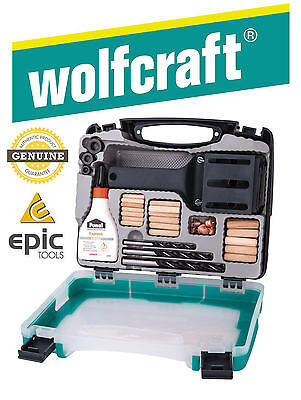 WOLFCRAFT Universal Dowel Pin Jig, Drills, Centre Points & Depth Stop Kit, 4645