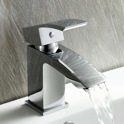 Waterfall Basin Sink Tap Modern Designer Chrome Bathroom Cloakroom Mixer Taps