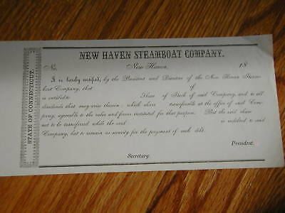 New Haven Steamboat Co,Stock Certificate, c1880