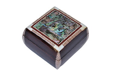 """Egyptian Inlaid Mother of Pearl Paua Jewelry Box 3"""" x 3"""" Exceptional # 408"""
