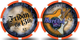 $5 HARD ROCK FRIDAY THE 13TH 2010 CASINO CHIP