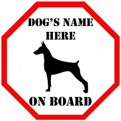 Personalised Doberman On Board Car Window Sign
