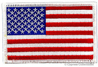 AMERICAN FLAG EMBROIDERED PATCH iron-on WHITE BORDER US UNITED STATES SHOULDER