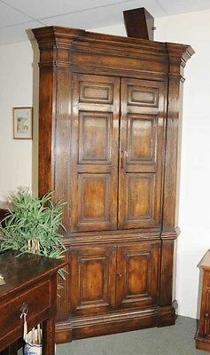 XL Tudor Jacobean Corner Cabinet Oak Farmhouse
