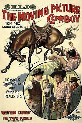 Old Western Cowboy Movie Poster Tom Mix 1914 - 24x36