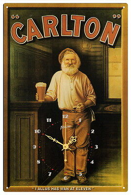 CARLTON VINTAGE  TIN SIGN CLOCK   I allus has wan...