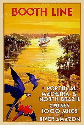 Booth Line 1930s Amazon River Vintage Style Cruise Line Travel Poster - 20x30