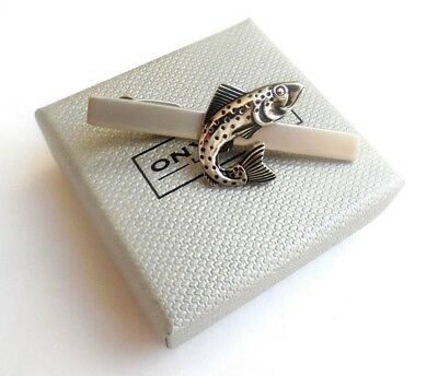 """Anglers/Fishermens/Chefs """"FISH"""" 55mm Satin Silver METAL Tie Bar in GIFT BOX-NEW"""