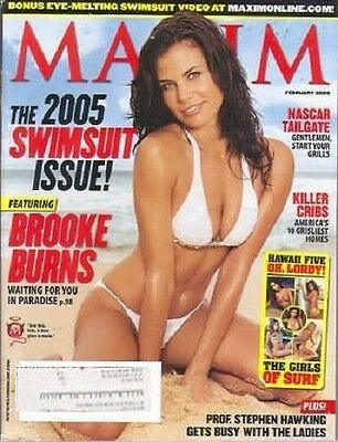 Maxim 2/05 Brooke Burns/Stephen Hawking/Bruce Willis/Nascar Tailgate/Surf Girls
