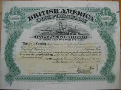 1901 Stock Certificate: ''British America Corporation''