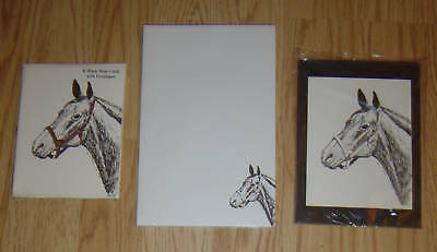 Horse Profile 3 Piece Set-Notepad, 6 Blank Notecards and Print