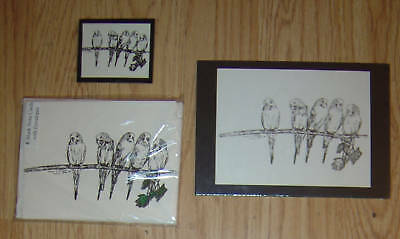Parakeets 3pc Set-Print,6 Blank Notecards and Magnet-New